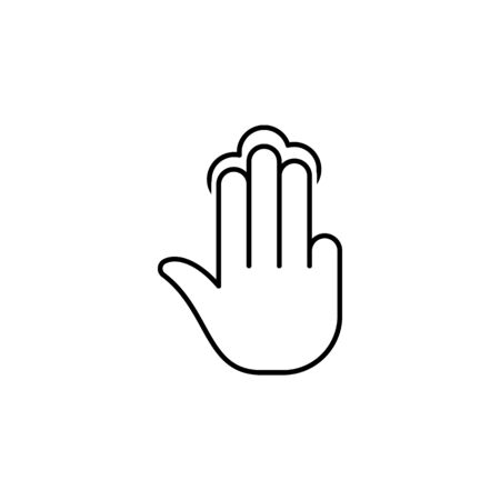 three fingers holding tap gesture outline icon. Signs and symbols can be used for web, logo, mobile app, UI, UX on white background