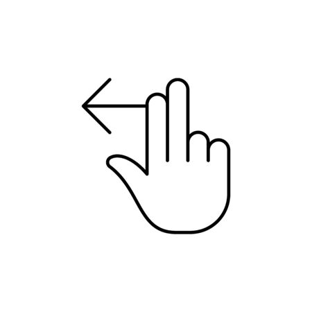 two fingers left swipe gesture  outline icon. Signs and symbols can be used for web, logo, mobile app, UI, UX on white background