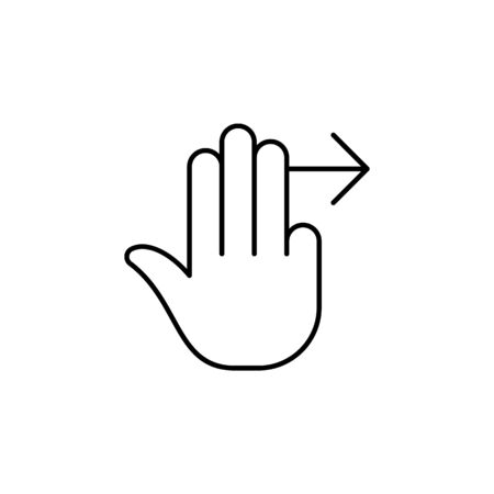 three finger swipe right  gesture  outline icon. Signs and symbols can be used for web, logo, mobile app, UI, UX on white background