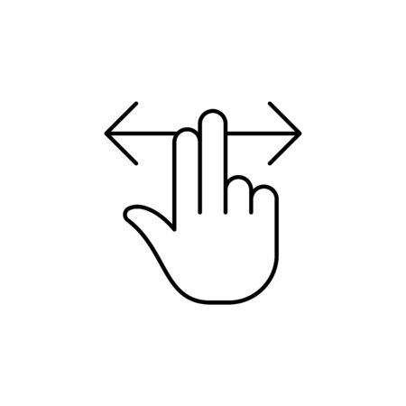 two fingers right and left swipe gesture  outline icon. Signs and symbols can be used for web, logo, mobile app, UI, UX on white background