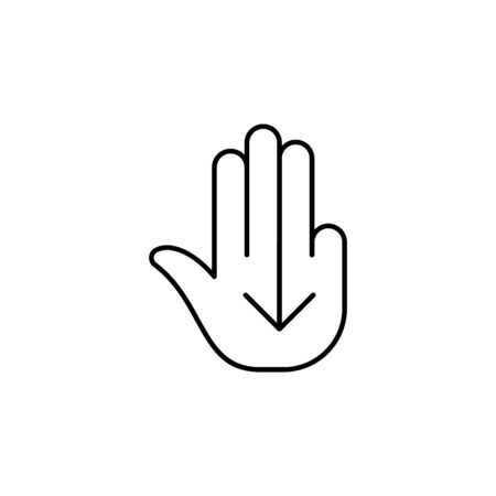 fingers down swipe gesture outline icon. Signs and symbols can be used for web, logo, mobile app, UI, UX on white background 일러스트