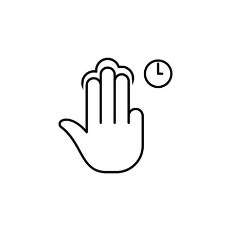 fingers holding tap gesture outline icon. Signs and symbols can be used for web, logo, mobile app, UI, UX on white background