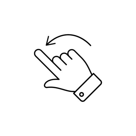 move right swipe finger gesture outline icon. Signs and symbols can be used for web, logo, mobile app, UI, UX on white background