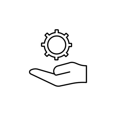 hand holding up instruction outline icon. Signs and symbols can be used for web, logo, mobile app, UI, UX on white background 일러스트