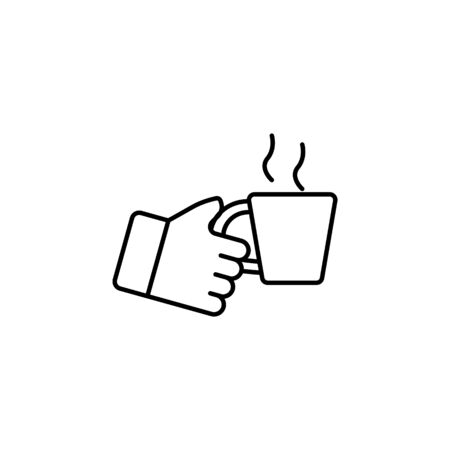 hand holding up cup outline icon. Signs and symbols can be used for web, logo, mobile app, UI, UX on white background Illustration