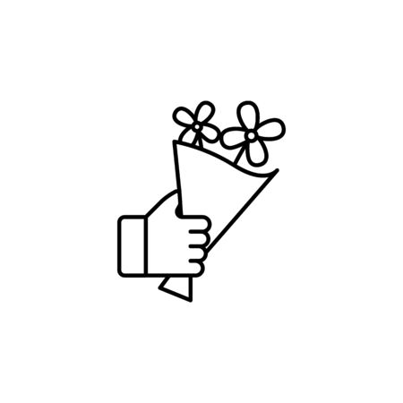 hand holding up bouquet outline icon. Signs and symbols can be used for web, logo, mobile app, UI, UX on white background