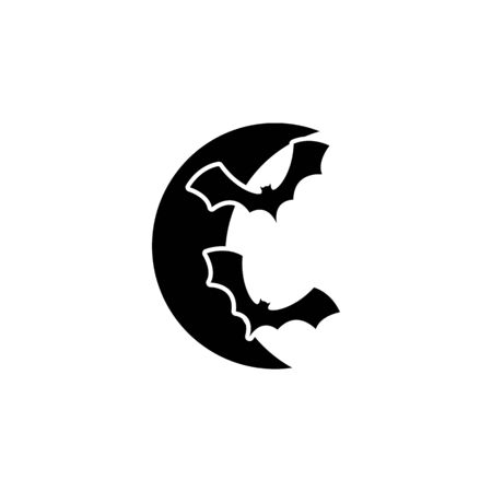 bats and crescents icon. Element of ghost elements illustration. Thin line  illustration for website design and development, app development. Premium icon on white background  イラスト・ベクター素材