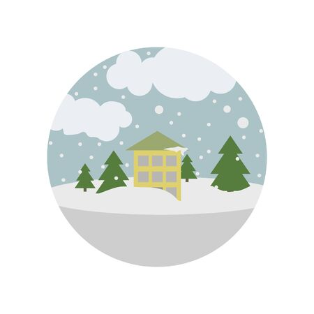 house under the snow color icon. Element of global warming illustration. Signs and symbols collection icon for websites, web design, mobile app on white background on white background Illustration