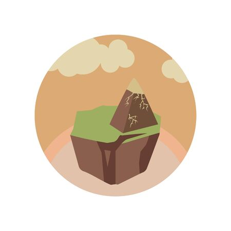 stone pyramid on the mountain color icon. Element of global warming illustration. Signs and symbols collection icon for websites, mobile app on white background on white background Çizim