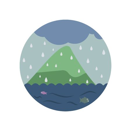 rain in the sea color icon. Element of global warming illustration. Signs and symbols collection icon for websites, web design, mobile app on white background on white background