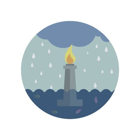 statue in the sea under the rain color icon. Element of global warming illustration. Signs and symbols collection icon for websites, mobile app on white background on white background