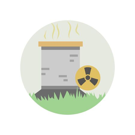 Energy, fuel, nuclear, radioactive color icon. Element of global warming illustration. Signs and symbols collection icon for websites, web design, mobile app on white background on white background Illustration