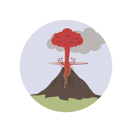 explode, lava, volcanic color icon. Element of global warming illustration. Premium quality graphic design icon. Signs and symbols collection icon for websites on white background on white background 向量圖像