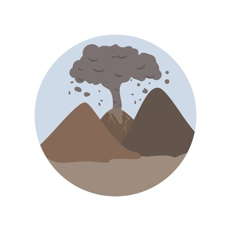 Ash, ash cloud, pollution, smoke, volcanic , disaster color icon. Element of global warming illustration. Signs and symbols collection icon for websites on white background on white background Ilustrace