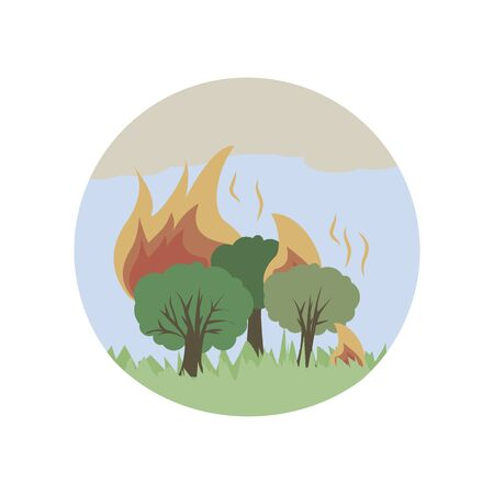fire in the forest color icon. Element of global warming illustration. Premium quality graphic design icon. Signs and symbols collection icon for websites on white background on white background Illustration