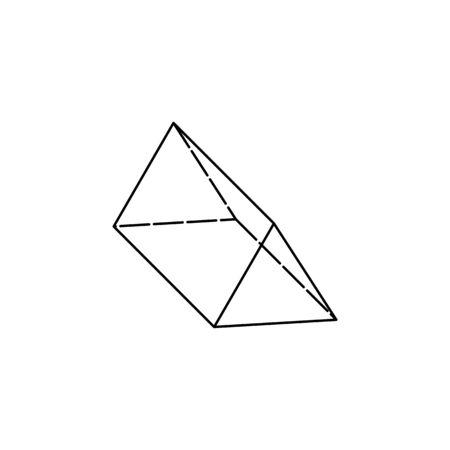 dreieckiges Prisma-Symbol. Geometrische Figur Element für mobiles Konzept und Web-Apps. Dünnes Liniensymbol für Website-Design und -Entwicklung, App-Entwicklung. Premium-Symbol weißer Hintergrund auf weißem Hintergrund Vektorgrafik