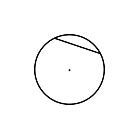 chord of a circle icon. Geometric figure Element for mobile concept and web apps. Thin line icon for website design and development, app development on white background on white background