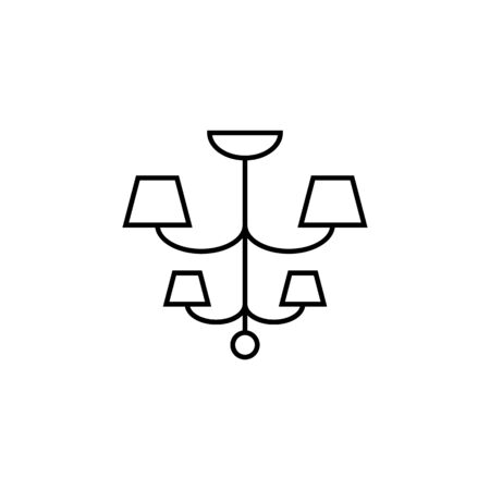 chandelier icon. Element of furniture for mobile concept and web apps. Thin line  icon for website design and development, app development. Premium icon on white background