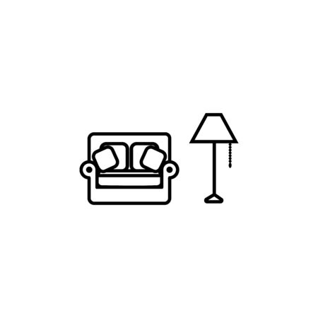 sofa and floor lamp icon. Element of furniture for mobile concept and web apps. Thin line  icon for website design and development, app development. Premium icon on white background