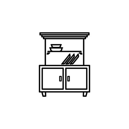 cupboard icon. Element of furniture for mobile concept and web apps. Thin line  icon for website design and development, app development. Premium icon on white background