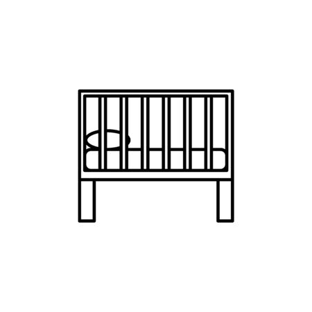childrens bed icon. Element of furniture for mobile concept and web apps. Thin line  icon for website design and development, app development. Premium icon on white background