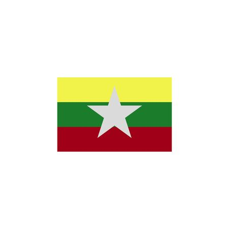 flag of Burma colored icon. Elements of flags illustration icon. Signs and symbols can be used for web, logo, mobile app, UI, UX on white background