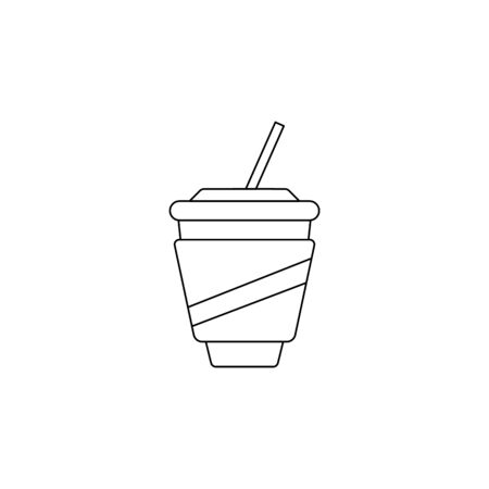 plastic cup with tube icon. Element of fast food for mobile concept and web apps. Thin line  icon for website design and development, app development. Premium icon on white background