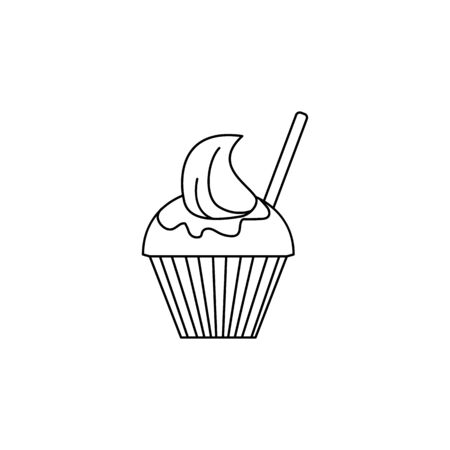 ice-cream in a glass icon. Element of fast food for mobile concept and web apps. Thin line  icon for website design and development, app development. Premium icon on white background