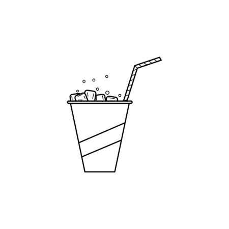 cold drink in a glass icon. Element of fast food for mobile concept and web apps. Thin line  icon for website design and development, app development. Premium icon on white background Ilustração