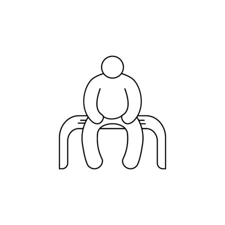 a fat man sits on a bench icon. Element of fast food for mobile concept and web apps. Thin line  icon for website design and development, app development. Premium icon on white background Illustration