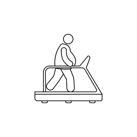 fat man on a treadmill icon. Element of fast food for mobile concept and web apps. Thin line  icon for website design and development, app development. Premium icon on white background Ilustração