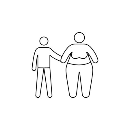 problem in the family with obesity icon. Element of fast food for mobile concept and web apps. Thin line  icon for website design and development, app development. Premium icon on white background