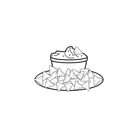 Tortilla chip or nachos tortillas with guacamole dip bowl line art icon for apps and websites on white background