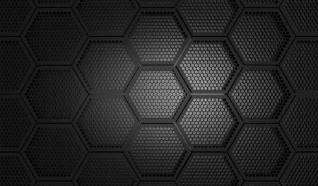 metal grid: black honeycomp pattern, 3D rendering. Stock Photo