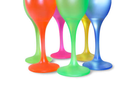 six isolated colored tall wine glasses in circle