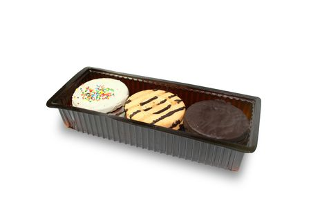 Isolated three types of cookies container Stock Photo