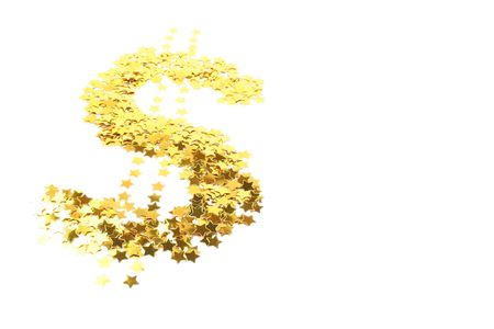Isolated dollar sign made of sparkling stars Stock Photo