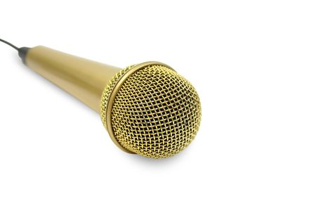 Isolated microphone with yellow glitter