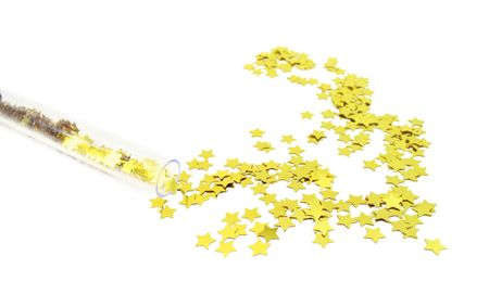 Many isolated split gilt stars  Stock Photo