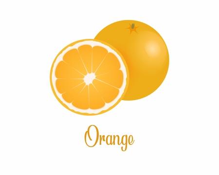 Orange cartoon picture. Orange illustration image. fresh Orange. fresh Orange on white background Banco de Imagens