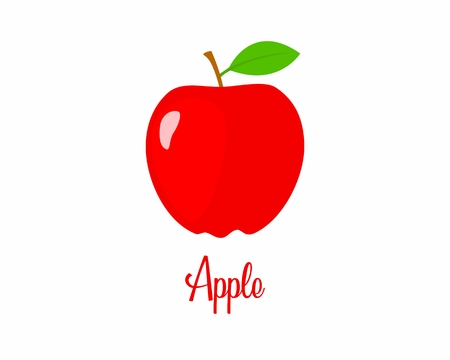 Apple cartoon picture. Apple illustration image. fresh Apple. fresh red Apple. white background