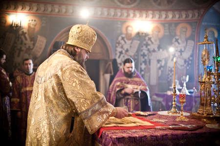 MOSCOW - MARCH 14: Orthodox liturgy with bishop Mercury in High Monastery of St Peter in Moscow on March 14, 2010 in Moscow Editorial