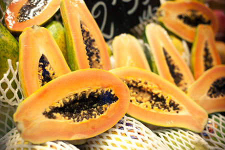 Many fresh papayas at the market Stock Photo