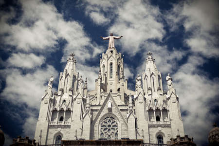 Temple del Sagrat Cor front view, Tibidabo, Barcelona, Spain Stock Photo - 10669559