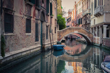 Venice canal with gondolas Editorial
