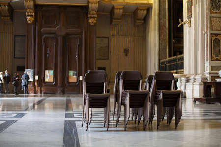 Chairs in cathedral hall