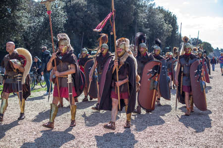 ROME - APRIL 22: Participants of  historic-dress procession prepare for performance at the cultural week on April 14-22, 2012 in Rome Editorial