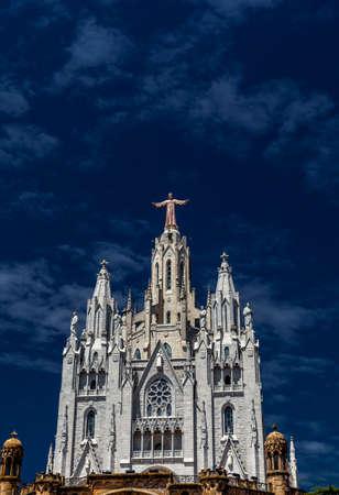 sagrat cor: Temple del Sagrat Cor front view, Tibidabo, Barcelona, Spain