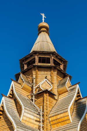 izmaylovskiy: Wooden church in Izmaylovskiy Kremlin in Moscow, Russia Stock Photo