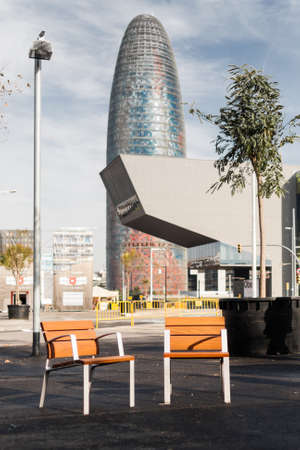 'phallic symbol': View of the Agbar Tower and the Museum of Design in Barcelona, Spain